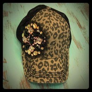 Olive and Pique leopard cheetah print baseball cap